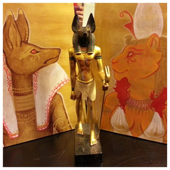 Paintings of Wepwawet and Sekhmet-Mut, and the Artisan's Guild statue of Wepwawet-Yinepu.